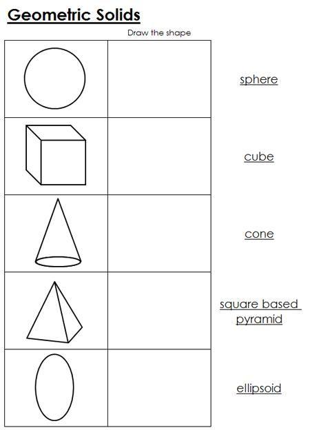 Geometric Solids Worksheets Geometric Solids Geometry Worksheets Shapes Worksheet Kindergarten Geometric shapes worksheets 2nd grade