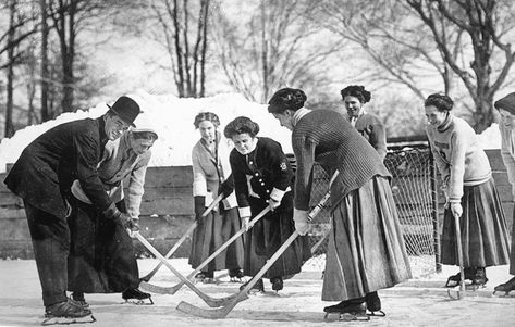 The University of Toronto's Varsity Ladies' Hockey Team, winter of 1910 on the rink at Annesley Hall, near Charles Street West and Queen's Park. Not recorded is the name of the man in the hat — a coach, no doubt. The original captioning identifies the players as (from l to r) Miss McDonald, Miss Barry, Miss Hunter, Miss Bonnar, Miss Sutherland, Miss Fairburn, and Miss Murphy. From the photo album of Minnie Louise Barry arts undergraduate student at the U of T's University College.