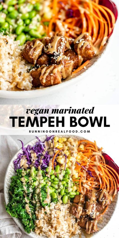 Vegan Marinated Tempeh Bowl This beautiful tempeh buddha bowl features colourful veggies and the most addictive tamari tahini sauce. Enjoy this gorgeous, nutritious bowl for a healthy and satisfying plant-based meal. Whole Food Recipes, Cooking Recipes, Vegetarian Recipes, Healthy Recipes, Tempeh Recipes Vegan, Buddha Bowl, Vegan Dinners, Tofu Meals, Food Design