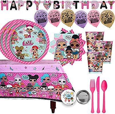 Pink Cutlery Cups Surprise! Napkins Plastic Tablecover 6 Balloons Birthday LOL Banner and Exclusive Pin By Another Dream L.O.L LOL Surprise Mega Birthday Party Supplies Pack For 16 Guests With LOL Surprise Plates