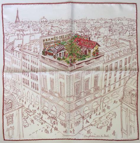 Rare Hermes Small Silk Scarf Un Jardin Sur Le Toit Grail Gavroche
