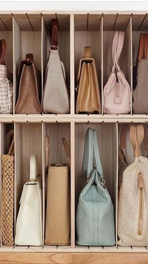 Easy and creative ways to make the most of that reduced space and turn it into a comfy place without feeling cramped. Girls Closet Organization, Wardrobe Organisation, Purse Organization, Closet Storage, Organizing, Wardrobe Design Bedroom, Master Bedroom Closet, Bed In Closet, Garage Closet