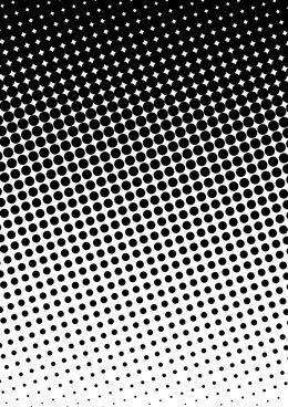 Halftone circle gradation patterns move from positive to negative space.