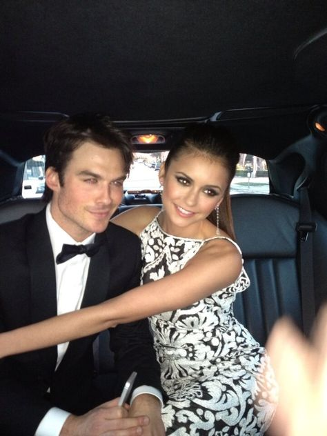 Ian Somerhalder and Nina Dobrev as Damon Salvatore and Elena Gilbert on The Vampire Diaries Katherine Pierce, Elena Gilbert, Damon Salvatore, Ian Somerhalder, Delena, Vampire Diaries Damon, Vampire Dairies, Cute Celebrity Couples, Cute Couples