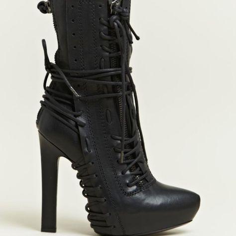 Haider Ackermann Haider Ackermann Womens Lace Elbamatt Boots in Black - Lyst High Heel Boots, Heeled Boots, Bootie Boots, Shoe Boots, High Heels, Zapatos Shoes, Shoes Heels, Dior Shoes, Crazy Shoes