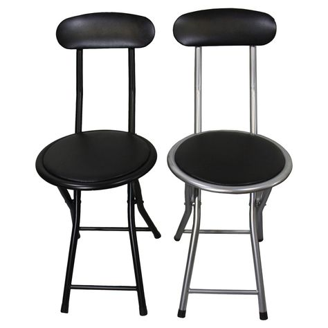2 Piece Folding Chair Black Silver Ore International Folding Chair Folding Dining Chairs Mismatched Chairs