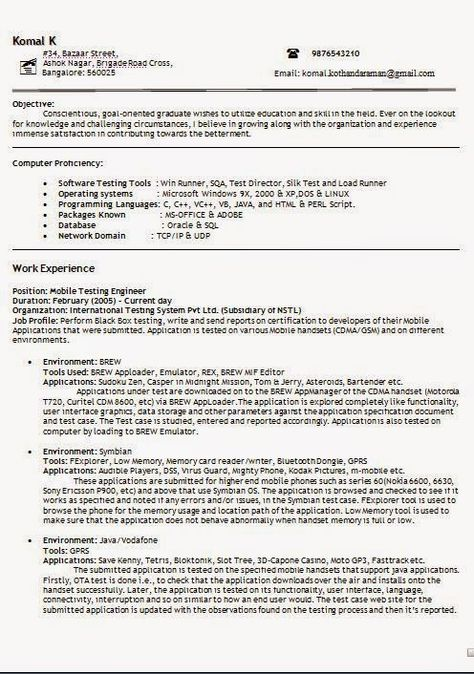 free sample resume templates Sample Template Example ofExcellent - senior test engineer sample resume