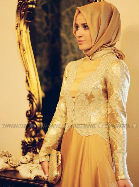 Mah I Devran Abiye Elbise Gold Minel Ask Moda Stilleri Musluman Modasi Elbise
