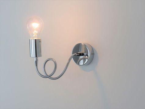 Applique parete specchio bagno moderno cromo acciaio lampada parete