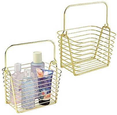 Amazon Com Mdesign Farmhouse Metal Storage Organizer Basket Bin