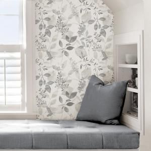 Nuwallpaper Grey Breezy Vinyl Strippable Roll Covers 30 75 Sq Ft Nus3144 The Home Depot Nuwallpaper Peel And Stick Wallpaper Accent Wall Bedroom