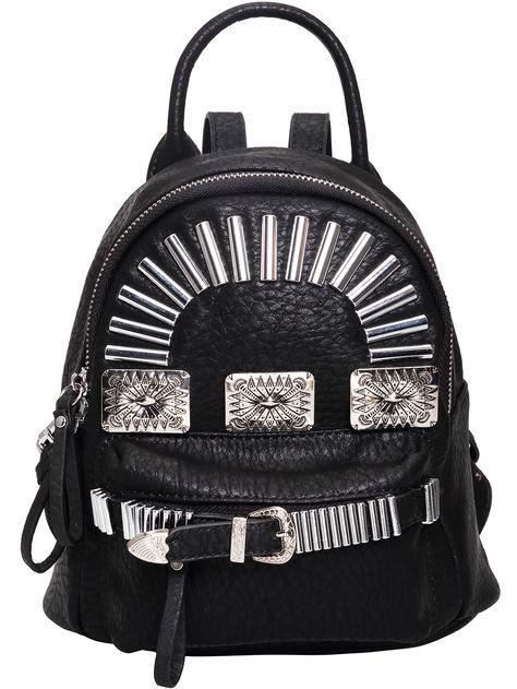 Black Bead Buckle PU Backpack