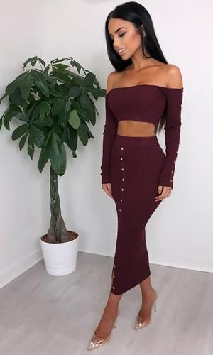 So Sultry Long Sleeve Off The Shoulder Ribbed Button Crop Top Bodycon Two Piece Casual Midi Dress Studded Bodycon Dress Midi Dress Casual High Waisted Maxi Skirt