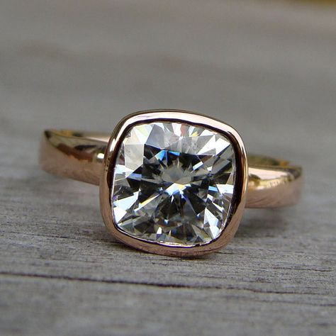 Square Cushion Cut Forever Brilliant Moissanite and Recycled 14k Rose Gold Alternative Engagement Ring, Eco-Friendly, Ethical, Made to Order on Etsy, $2,698.00