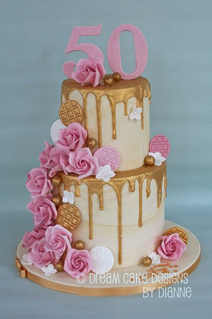 Tracey Stunning 2 Tier 50th Birthday Cake With Gold Drip And Pink Roses 50th Birthday Cake 50th Birthday Cake For Mom Cake