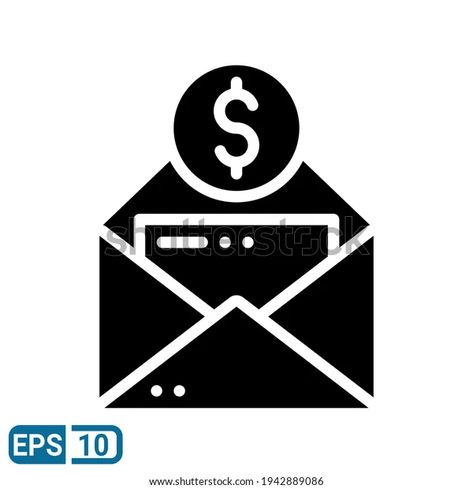 Envelope Money Icon Solid Style Isolated Stock Vector (Royalty Free) 1942889086