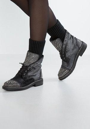 Botki Sznurowane Pewter Block Heel Shoes All Black Sneakers Ankle Boots