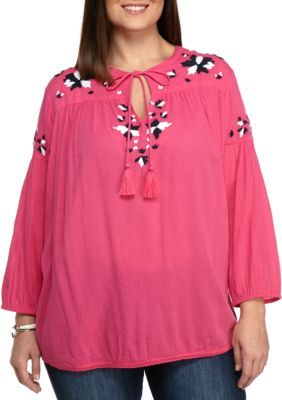 3d105cc31d367 Crown Ivy Pink Flora Plus Size Embroidered Tassel Peasant Top