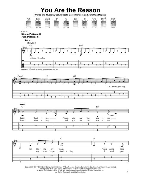Calum Scott You Are The Reason Sheet Music Notes Chords Score Download Printable Pdf Guitar Chords For Songs Guitar Tabs Songs Sheet Music