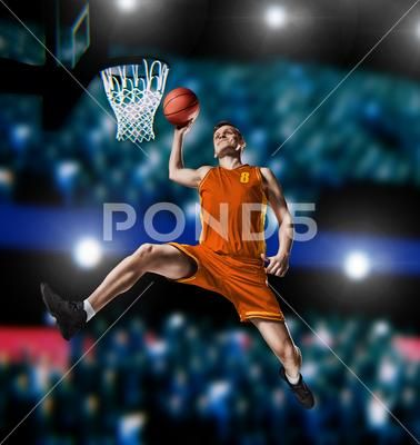Basketball Player Making Slam Dunk On Basketball Arena Stock Photos Ad Making Slam Basketball Player Basketball Players Slam Dunk Slam Basketball