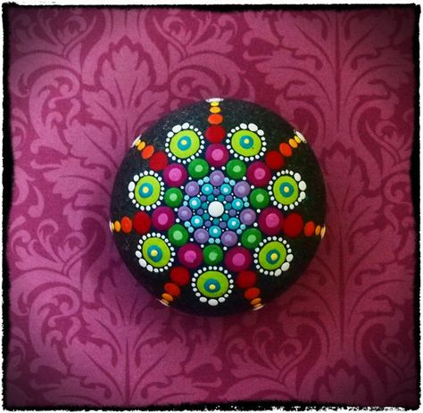 Jewel Drop Mandala Painted Stone- Drops of Spring