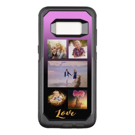 Custom photo collage on black and violet OtterBox commuter samsung galaxy s8 case
