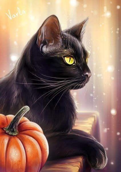 Chats Noirs Peinture Illustration De Chat Art De Chat Noir Chat Halloween