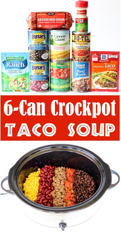 Taco Soup Recipe Easy Crock Pot Beef Soup {6 Can Crockpot Southwest Supper}  This delicious quick prep dinner is one of the EASIEST things you'll make all week!  Go grab the recipe and give it a try!