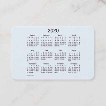 2020 Calendar By Janz Alice Blue Euro Business Card Zazzle Com Business Holiday Cards Business Card Size Business Template