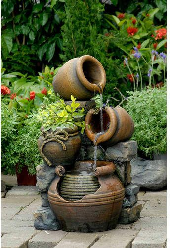 Jeco Inc Resin Fiberglass Multi Pots Fountain Water Fountains Outdoor Flower Pots Outdoor Fountains Outdoor