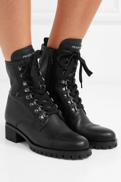 Prada | Lace-up leather ankle boots