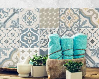 Carreaux Ciment Stickers Etsy Fr Carrelage Adhesif Stickers