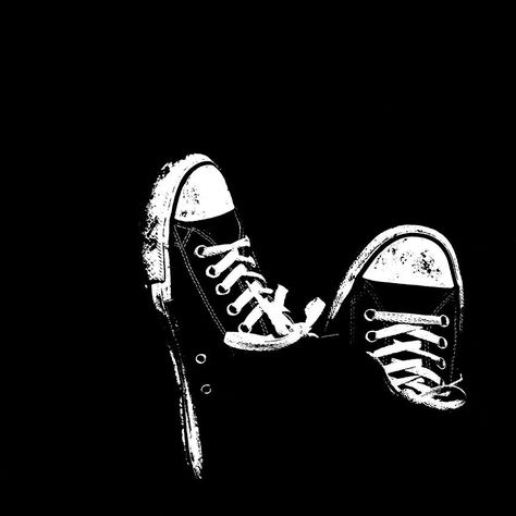 Sneakers on Black Background