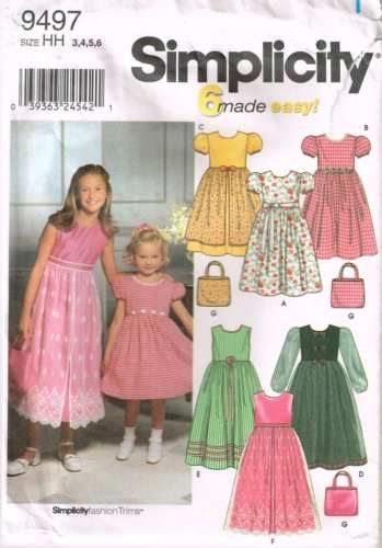 9497 Sewing Pattern Simplicity Girls Dress w Variations 3 4 5 6