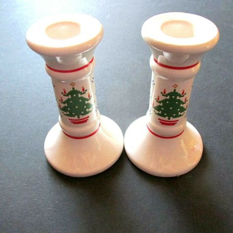 Treasure Craft Christmas Candle Stick Set 2 Candle Holders Homespun Holiday VTG  #TreasureCraft #CountryFarmhouse #Christmas