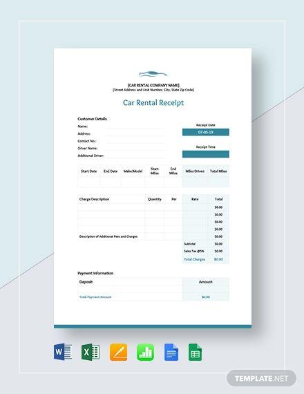 Car Rent Receipt Template Free Pdf Google Docs Google Sheets Excel Word Template Net Receipt Template Free Receipt Template Coupon Template