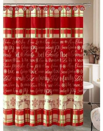 Howplumb Christmas Holiday Shower Curtain And 12 Resin Shower