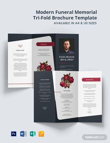 Free Modern Funeral Memorial Tri Fold Brochure Template Psd Trifold Brochure Template Trifold Brochure Brochure Template