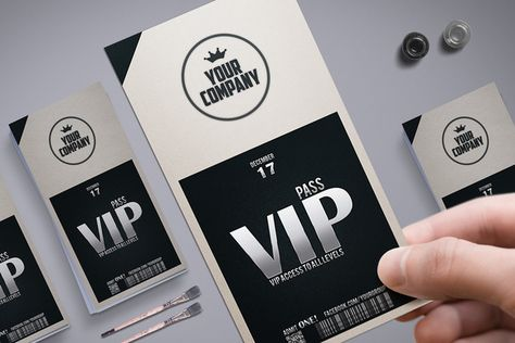 Stylish simple VIP PASS Vip pass and Vip card - free vip pass template