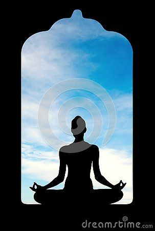 Woman Silhouette In Yoga Lotus Pose Sitting In An Old Temple Meditating Blue Sky With White Clouds In The Background Metaphysical Art Illustration Lotus Pose