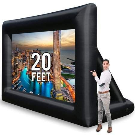 Jumbo 20 Feet Inflatable Outdoor and Indoor Theater Projector Screen - Includes Inflation Fan, Tie-Downs and Storage Bag - Supports Front and Rear Projection Movie Projector Screen, Outdoor Projector Screens, Portable Projector Screen, Outdoor Screens, Outdoor Pergola, Outdoor Decor, Outdoor Movie Screen, Outdoor Movie Nights, Shopping