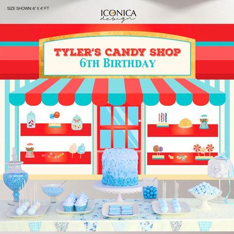 Candyland backdrop,Bakery Backdrop,Candy Shop Backdrop,Sweet Shoppe Backdrop,Candy Shop Birthday,Baking party decor BBD0156 - 6x4 ft / Grommets