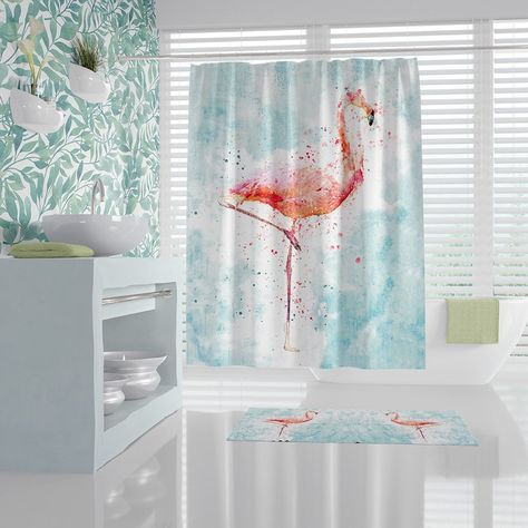 Abstract Watercolor Flamingo Shower Curtain Aqua And Peach
