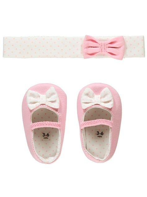 Bow Adorned Shoe and Headband Gift Set