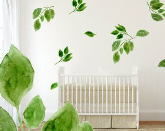 Green Leaf Wall Decals 5 Set Hand Painted Leaf Decals For Etsy