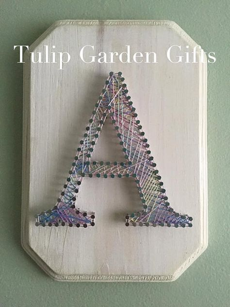 String Art Letter Plaque by Tulip Garden Gifts - What a cute addition to any nursery or gallery wall. Can be customized with Est. Date or full name too! <3