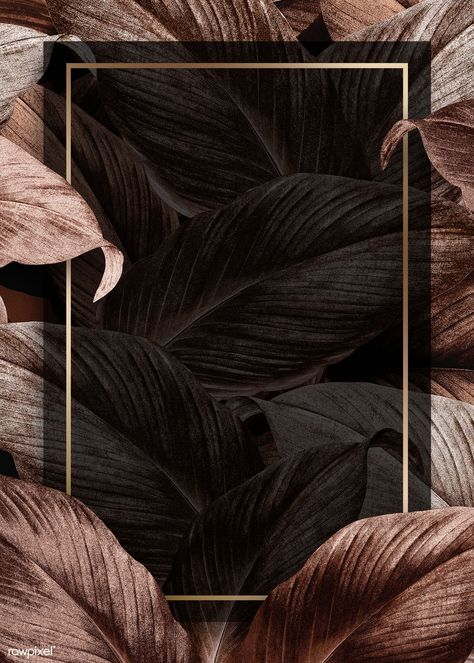 premium illustration of Bronze tropical leaves patterned poster - -