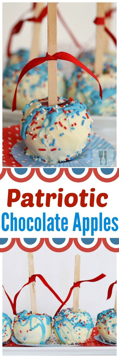 Tart apples are dipped in white chocolate and are coated with patriotic colored, red, white, and blue sprinkles. These sweet, festive candy apples are perfect for your summer festivities. #redwhiteblue #candyapples #chocolateapples  via @sizzlingeats