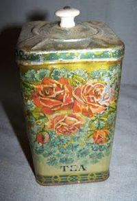 Art Nouveau Birds fruit Jar canister Vintage advertising Rington/'s tea Victorian Rare Antique Tin Litho Vase Urn Box Decorative Figural