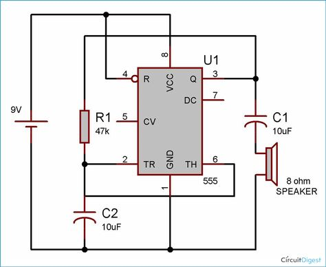 this is a 555 timer ic based fun circuit which generates a sound of loud  clicking clock  it is quite simple circuit designed by wiring the 555 ic in  astable